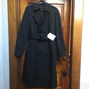 NWT Garrisons Mens 42R Black Lined Trench Coat 痢